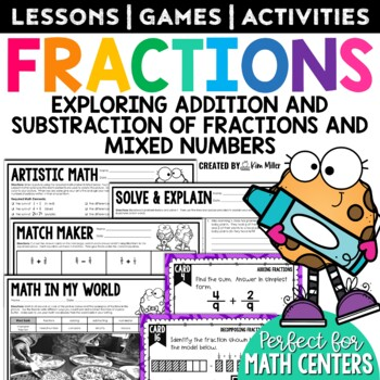 Adding & Subtracting Fractions Math Test Prep Task Cards