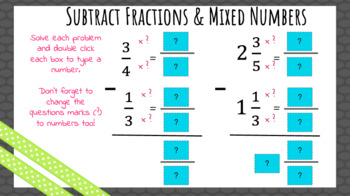 Add/Subtract Fractions Digital Practice (Unlike Denominators)