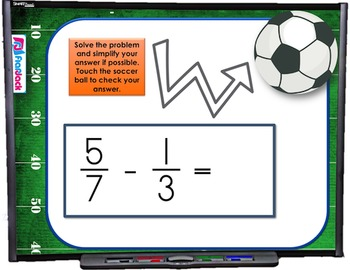 Add Subtract Fractions Different Denominators SMART BOARD Game (CSS 5.NF.A.2)
