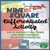 Add Subtract Fractions Mixed Numbers with Unlike Denominators Printable Activity