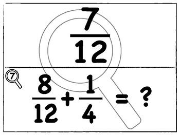Add & Subtract Fractions w/ Unlike Denominators | Scavenger Hunt