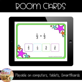 Add & Subtract Fractions with Common Denominators - Boom Cards