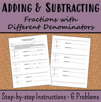 Add & Subtract Fractions with Different Denominators 5.NF.A.1