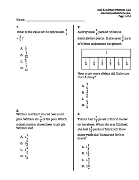 Add & Subtract Fractions with Like Denominators Review