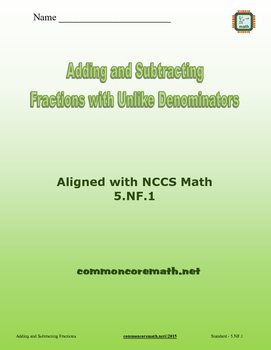 Add/Subtract Fractions with Unlike Denominators - 5.NF.1