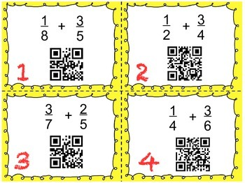 Add & Subtract Fractions with Unlike Denominators QR Code Task Cards