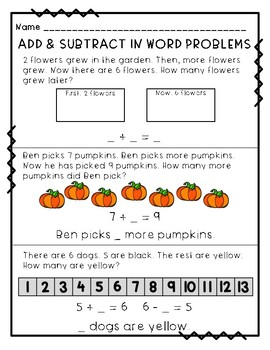 Add & Subtract In Word Problems