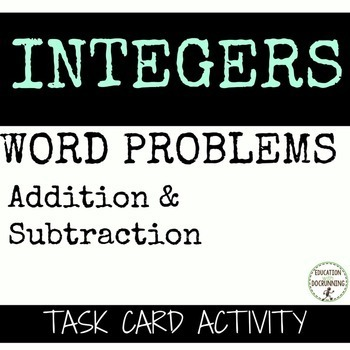 Add & Subtract Integer Word Problem Task Card Activity