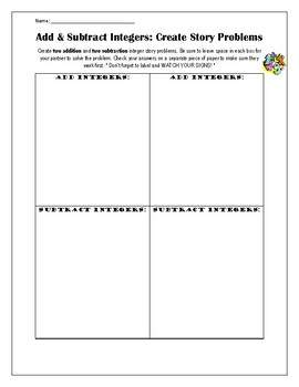 {FREE} Add Subtract Integers Create Story Problems