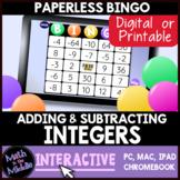 Add & Subtract Integers Interactive Digital Bingo Game - D