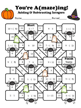 Add & Subtract Integers Maze (Halloween Version)