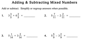 Add/Subtract Like Mixed Numbers, 4th grade - worksheets - Individualized Math