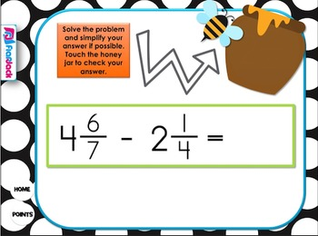 Add Subtract Mixed Numbers SMART BOARD Game (CSS 5.NF.A.2)