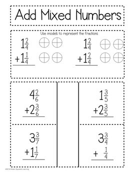 Add & Subtract Mixed Numbers Interactive Notebook & Quick Check TEKS 4.3E
