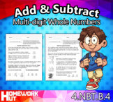 4.NBT.4 - Add and Subtract Multi-digit Whole Numbers Worksheets