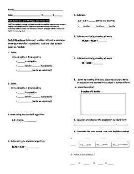 Add Subtract Multiply Decimals Test 5.NBT.7