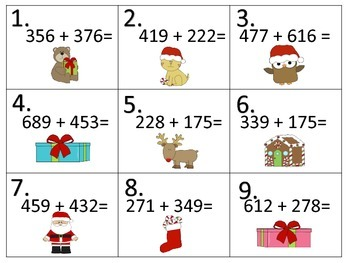 Add--Subtract--Multiply--Divide--Christmas Task Cards