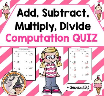 Add Subtract Multiply Divide Basic Computation Quick Quiz Test Assessment