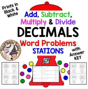 Add Subtract Multiply Divide DECIMALS Word Problems BLACK & WHITE w/ KEY