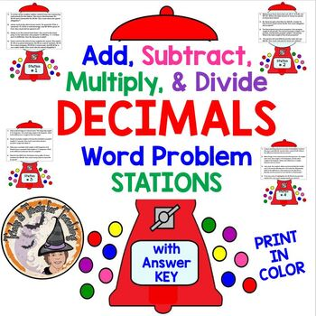 Add, Subtract, Multiply, Divide DECIMALS Word Problems STATIONS COLOR w/ KEY