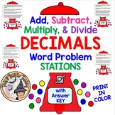 Add Subtract Multiply Divide DECIMALS Word Problems STATIONS COLOR w/ KEY