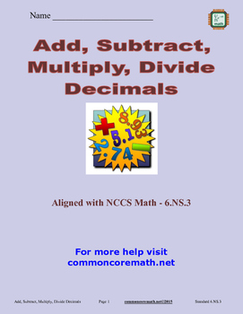 Add, Subtract, Multiply, Divide Decimals - 6.NS.3