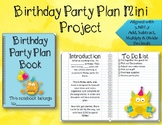 Add, Subtract, Multiply & Divide Decimals Party Planning Project