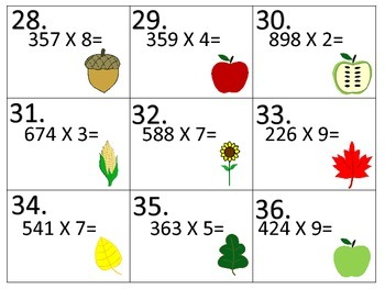 Add--Subtract--Multiply--Divide--Fall Task Cards