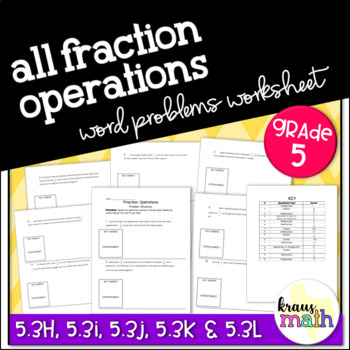 Add, Subtract, Multiply & Divide Fraction Word Problems- GRADE 5 & 6