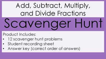 Add, Subtract, Multiply, Divide Fractions Scavenger Hunt