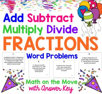 Add Subtract Multiply Divide Fractions Word Problems Smartboard Activity