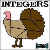 Add Subtract Multiply Divide INTEGERS Turkey Puzzle Thanksgiving