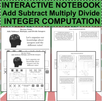 Interactive Notebook Notepage Add, Subtract, Multiply, Divide Integers Lesson