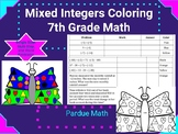 Add/Subtract/Multiply/Divide Integers Coloring Sheet