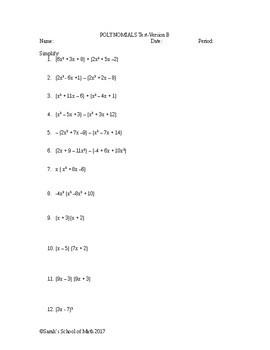 Add/Subtract/Multiply/Divide Polynomial Test Version B (Word Document!)