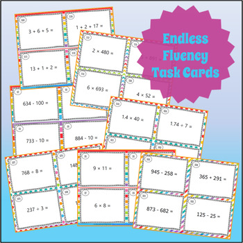 Add, Subtract, Multiply & Divide Task Cards ENDLESS Bundle: Fluency & Word Probs