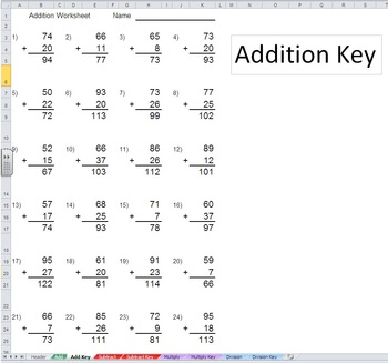 Add Subtract Multiply Divide Worksheet Generator