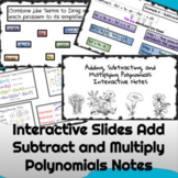 Add Subtract Multiply Polynomials Notes  TEKS.MA.9-12.A2.7