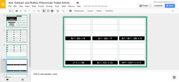 Add, Subtract, & Multiply Polynomials Triples Activity  - GOOGLE SLIDES VERSION