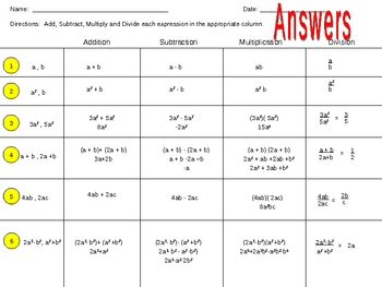 Add, Subtract, Multiply and Divide Algebraic Expressions Worksheet