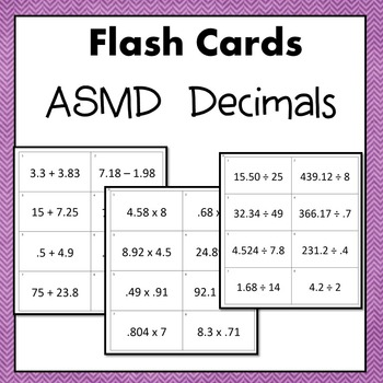 Decimals Flash Cards or Task Cards (Add Subtract Multiply and Divide) 6.NS.3