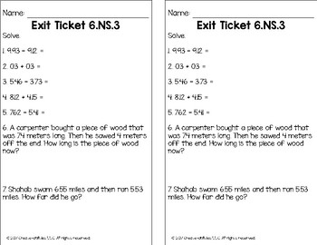 Add, Subtract, Multiply, and Divide Decimals Math Tasks and Exit Tickets