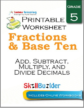 Add, Subtract, Multiply, and Divide Decimals Printable Worksheet, Grade 5