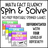 Add, Subtract, Multiply, and Divide Fluency Practice Spinner Games