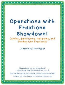 Add, Subtract, Multiply, and Divide Fractions Showdown