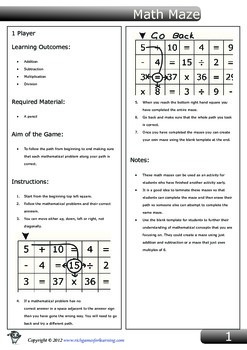 Add, Subtract, Multiply and Divide - Math Maze
