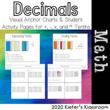 Add, Subtract, Multiply, and Divide Tenths Anchor Charts AND Student Pages!