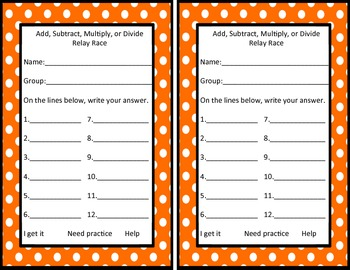 Add, Subtract, Multiply, or Divide Word Problem Relay Race Review Game