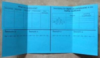 Introduction to Polynomials - Adding and Subtracting (Foldable)