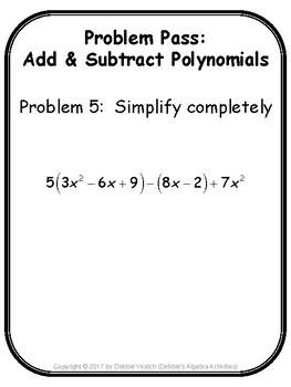 Add & Subtract Polynomials Problem Pass Activity